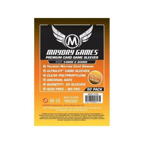 fundas premium yucatan narrow card game transaparentes 54 x 80 mm 50 pack mayday